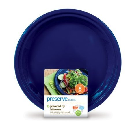 Preserve Reusable Plastic Plates Large Midnight Blue front-618151
