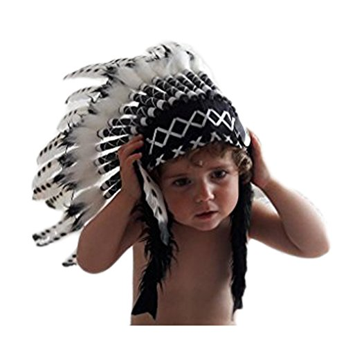 [K04 From 2-5 years Kid / Child's: Black and White Headdress 20,5 inch. - 52 cm] (White And Black Swan Halloween Costumes)