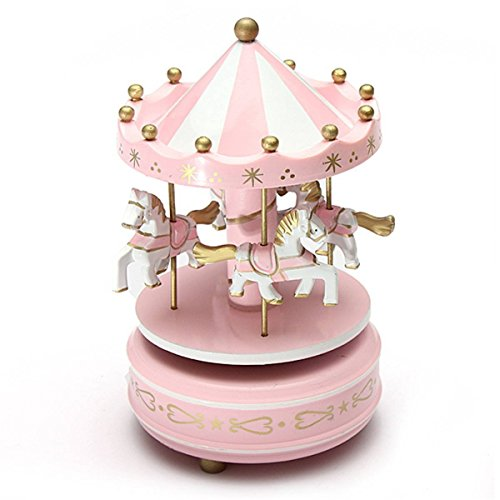 Bemodst Fantasy-like Wooden Merry-go-round Carousel Classic Music Box Kids Children Girls Christmas New Year Wedding Valentine's Day Birthday Gift Toy Home Decoration Photograph Props (PINK)
