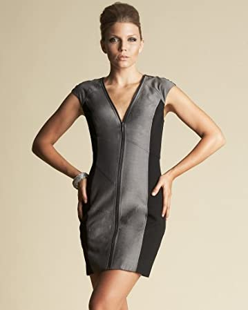 bebe Silk Ponti Zip Dress