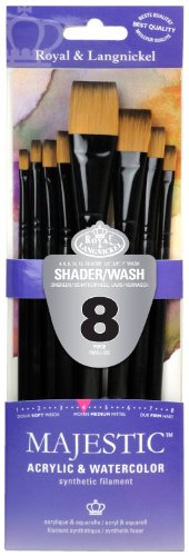 Majestic Royal and Langnickel Short Handle Paint Brush Set, Flat and Glaze Wash, 8-Piece