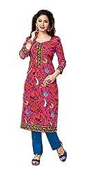 AMP IMPEX Ethnicwear Women's Kurti Fabric Pink Free Size