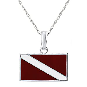 925 Sterling Silver Sports Charm Pendant, Dive Flag, Red & White Enamel, with 18 Inch Chain