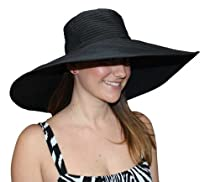"7"" Crushable Ribbon Braid Sun Hat (Black)"