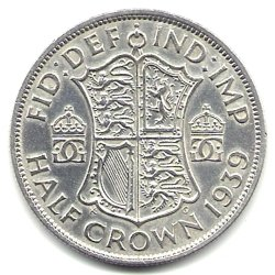 1939 U.K. Great Britain England Half Crown Coin KM#856 - 50% Silver