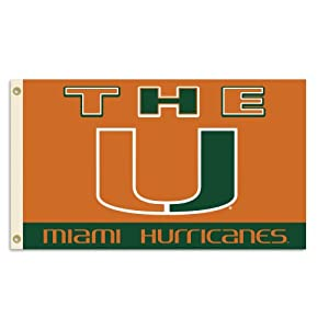 Buy NCAA Miami Hurricanes 3-by-5 Foot Flag With Grommets by BSI