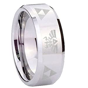 8MM Tungsten Triforce & Legend of Zelda Flat Top Shiny Engraved Ring Size 7
