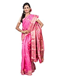 Buddha And Beyond Pink Baluchari Saree With Blouse Piece