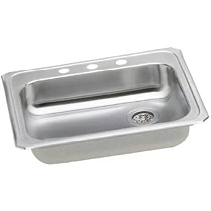 Elkay GECR2521R0 0-Hole Gourmet 21-1/4-Inch x 25-Inch Single Basin Drop-In Stainless Steel Kitchen Sink