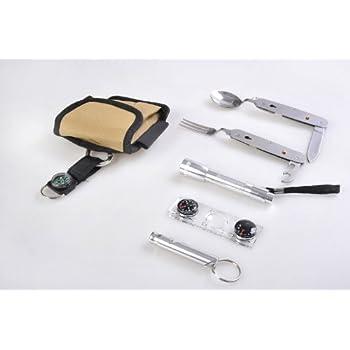 Voyage: Outil portatifs Multi-fonctions (6-en-1): Sifflet, Multi-Function ustensils de table (fourchette, couteau, ouvre-bouteille, cuillère), boussole / thermomètre, loupe, lampe de poche, crochet d'escalade, miroir, filet, Traveler1
