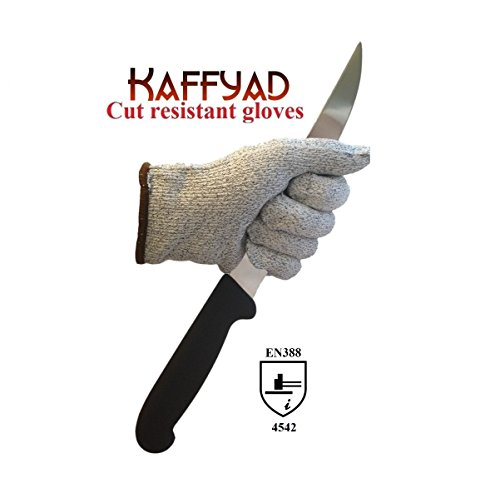 Kaffyad Level 5 Cut Resistant Kitchen or Work Safety Gloves. Protection from Knives, Mandolines and Graters - Best for cutting meat, filleting fish or shucking oysters - Lightweight, Flexible and Food Safe. (Extra Large, 2 gloves (1 pair)) (Puncture Proof Work Gloves compare prices)