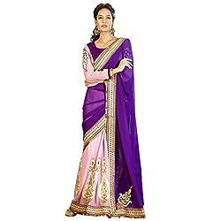 Resham Fabrics Purple and Pink Georgette Sari