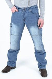 Men's Motorcycle Motorbike Dull cargo Pants Protective Lining 14oz Denim Jeans