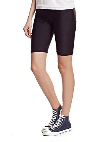 new-womens-stretchy-cotton-lycra-over-knee-short-active-leggings-medium-uk12-38-black