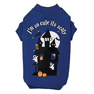 Casual Canine Polyester/Cotton I'm So Cute It's Scary Print Dog Tee, X-Small, 10-Inch, Blue