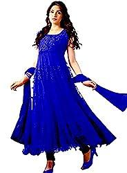 Lakshmi Fashion Creation Women's Brasso Dress Material ( Blue )