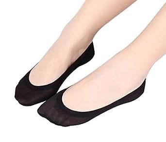 3 Pairs Summer Women Ice Silk Shoe Liner No Show Socks Girls Liner Socks BLACK At Amazon Womenu2019s ...