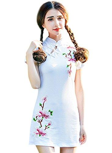 (アザブロ)AZBRO レディース 花 刺繍 無地 スミニチャイナドレス コットンリネン ショート丈