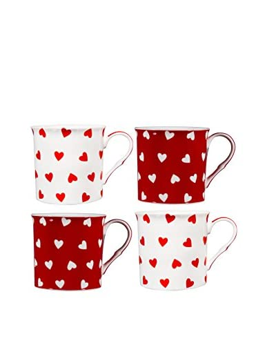 Home Essentials Set of 4 Red & White Hearts 10-Oz. Mugs