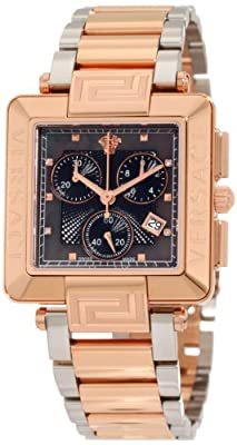 Versace Women's 88C80SD008 S089 Reve Carrè Chronograph Rose-Gold Plated Mother-Of-Pearl Diamond Watch