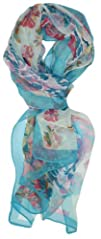 LibbySue-Floral   Graphic Print Silk Blend Oblong Scarf