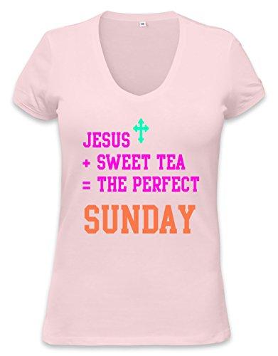 Jesus Sweet Tea Perfect Sunday Funny Slogan T-Shirt Womens V-Neck T-Shirt Small