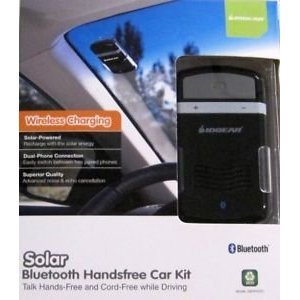 Solar Powered Bluetooth Hands-Free Cell Phone Car Kit [Retail Package] - Talk Hands-Free And Cord-Free While Driving