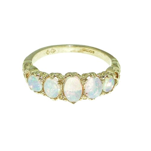 High Quality Solid 9ct Gold Natural Opal English Victorian Ring - Size O - Finger Sizes K to Y Available