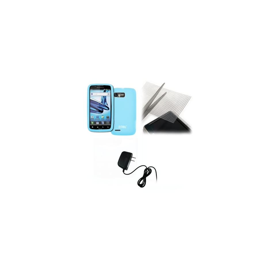 EMPIRE Motorola Atrix 2 Light Blue Silicone Skin Case Cover + Universal Screen Protector + Home Wall Charger [EMPIRE Packaging]