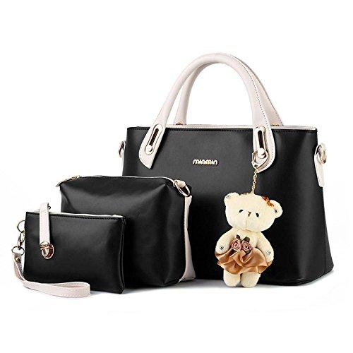 pu-cuoio-dolce-signora-incantesimo-colore-piccolo-orso-borsa-spalla-messenger-borsa-bag-3-pezzo-blac