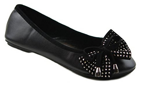 New Little Girls Jr Kid Pretty Bow Sparkling Jewels Dress Shoes Ballet Cute Flats