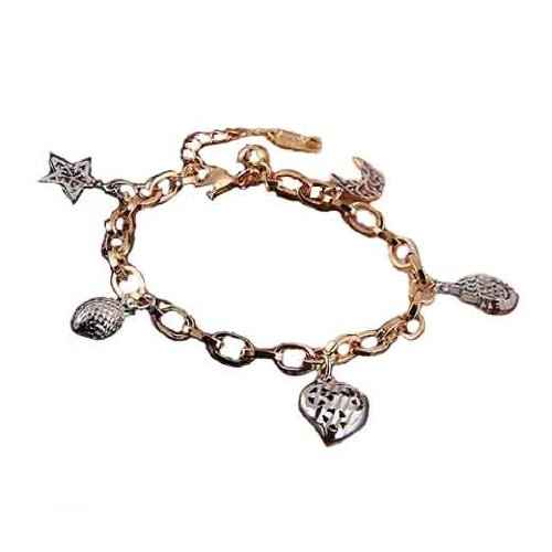 High Quality Platinum Plated & 18 k Gold Plated Charms 2 Colours Bracelet BB53