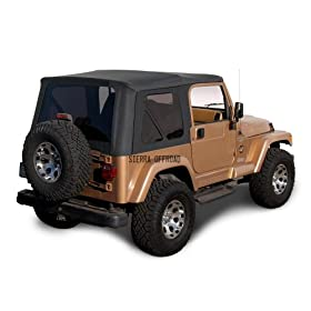 Sierra Offroad Jeep Wrangler TJ (1997-2002) Factory Style Soft Top with Tinted Windows, without Upper Doors Black Denim