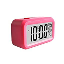 AutumnFall® Smart Simple Silent LED Alarm Clock Date Display Repeating Snooze Sensor Night Light (Red)