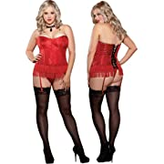 Plus Size Sexy Red Satin Strapless Corset Lingerie Set