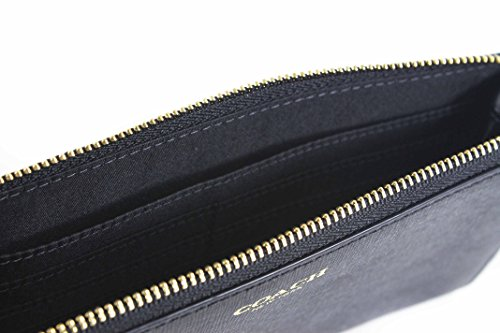 Coach   Coach Signature Zippy Wallet Black Saffiano Leather Clutch
