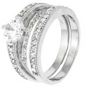 Sterling Silver Wedding Ring Set with Round Cubic Zirconia in Four Prong Setting With Round Side Stones