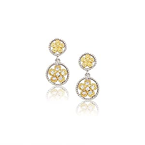 White CZs Graduated Open Circles Flowers Two Tone Dangle Post Stud Pierced Earrings Sterling Silver with Yellow Gold-Tone
