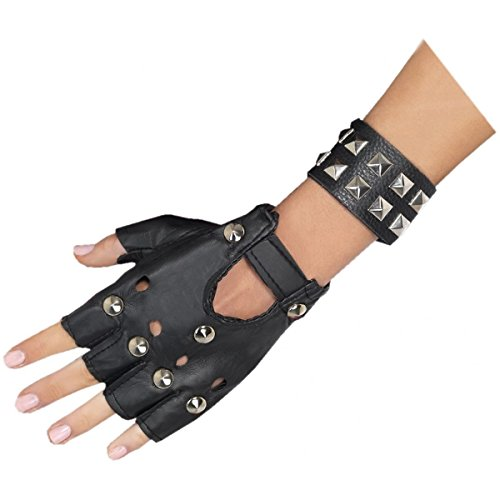 [GSG Black Studded Punk Accessories Womens 80s Rock Star Costume Fancy Dress] (Cabaret Costumes For Men)