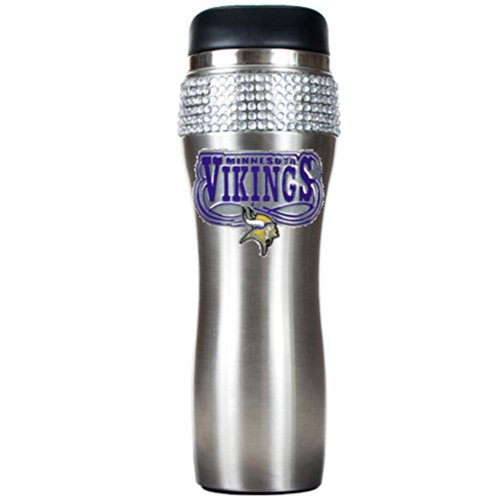 Nfl Minnesota Vikings 16-Ounce Stainless Steel Bling Tumbler front-632654