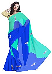 GiftPiper Pure Chiffon Double Shaded Gota Patti Saree- Blue