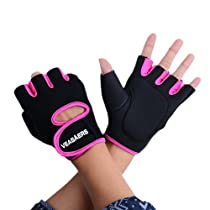 FINEJO Sport Cycling Fitness GYM Half Finger Weightlifting Gloves Rose Red