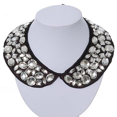 Black Fabric Jewelled Peter Pan Collar Necklace With Silk Ribbons - Adjustable