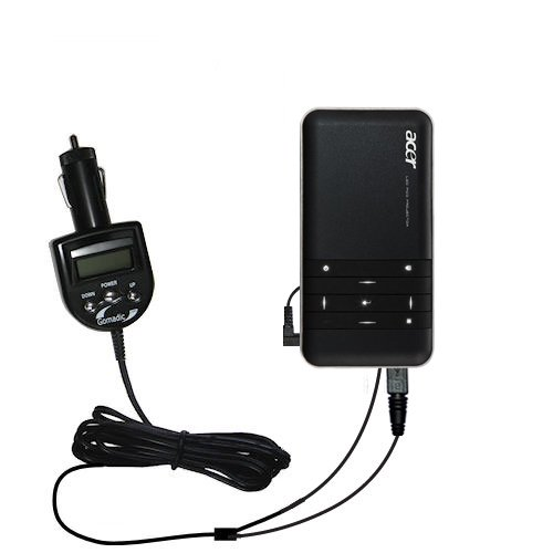 2nd Generation Audio FM Transmitter and Car Vehicle Charger for the Acer C20 DLP Projector - Uses Gomadic TipExchange Technology