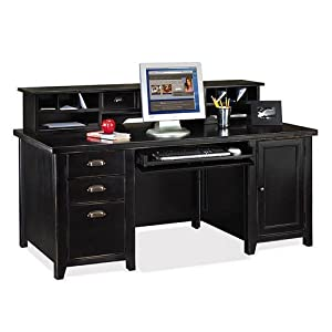 Amazon.com: Tribeca Loft Black Computer Desk with Hutch ...