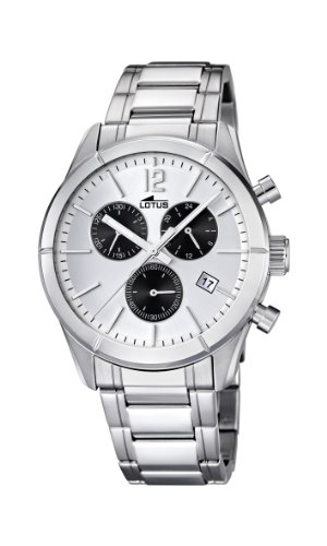 Lotus Men's Quartz Watch with White Dial Chronograph Display and Silver Stainless Steel Bracelet 15849/5