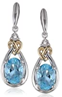 Love Knot Sterling Silver and 14k Yellow Gold Blue Topaz with Diamond-Accent Earrings by Amazon Curated Collection