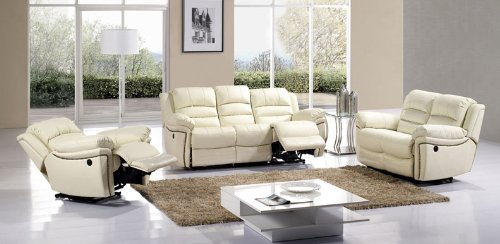 3Pc Traditional Modern Electric Recliner Leather Sofa Set, #Am-916-Iv