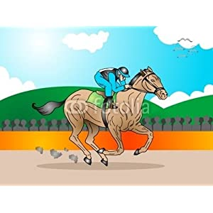 Peel and Stick Wall Decals - Horse in a Tournament Race
