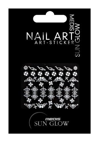 Medis Sun Glow Nagelsticker Ornamente Silber, Blumen / Floral-Motive II, Silber mit Silber-Strass